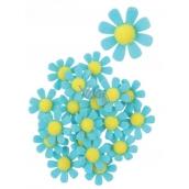 Dekorace květy z filcu s lepíkem modré 3,5 cm v krabičce 18 kusů
