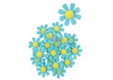 Květy z filcu s lepíkem modré dekorace 3,5 cm v krabičce 18 kusů