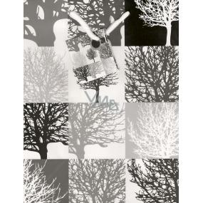 Nekupto Dárková papírová taška střední 23 x 18 x 10 cm šedá stromy 1001 02 KAM