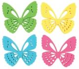 Motýl z filcu dekorace 6 cm v krabičce 12 kusů