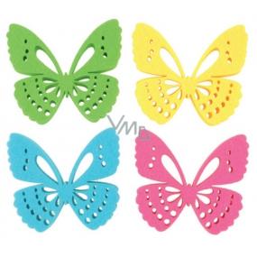 Dekorace motýl z filcu 6 cm v krabičce 12 kusů