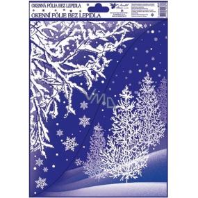 Okenní fólie bez lepidla Rohová s glitrem zimní krajina s jehličnany 42 x 30 cm