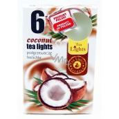 Tea Lights Coconut s kokosovou vůní vonné čajové svíčky 6 kusů