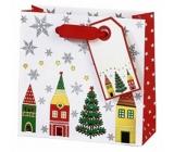 BSB Luxusní vánoční dárková papírová taška 23 x 19 x 9 cm Vánoční vesnice VDT 413 - CD