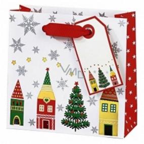 BSB Luxusní dárková papírová taška 23 x 19 x 9 cm Vánoční Vánoční vesnice VDT 413 - CD