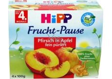 Hipp 100% Ovoce Bio Jablka s broskvemi ovocný příkrm, snížený obsah laktózy a bez přidaného cukru pro děti 4 x 100 g