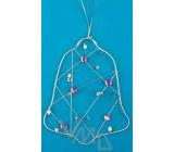 Zvonek Drátěná dekorace stříbrná s kamínky na zavěšení 15 cm