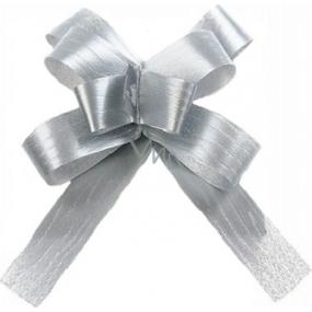Kokarda stuha stahovací ozdobná stříbrná 50 cm