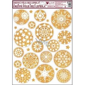 Okenní fólie bez lepidla bílo zlaté kruhové hvězdy 42 x 30 cm
