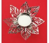Svícen kovový stříbrný jemný květ, 12 cm, na čajovou svíčku
