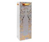 Ditipo Dárková papírová taška na láhev Glitter 12 x 35 x 9 cm stříbrná, flaška Wine