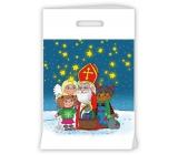 Igelitová taška s průhmatem Mikuláš, čert, anděl, holčička, hvězdičky 30 x 46 x 8 cm
