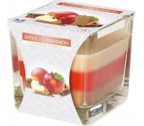 Bispol Apple & Cinnamon - Jablko a skořice tříbarevná vonná svíčka sklo, doba hoření 32 hodin 170 g