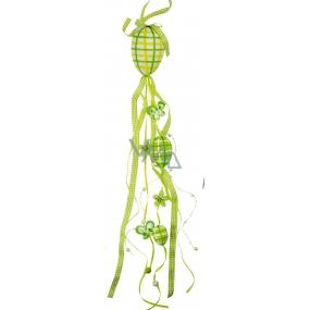 Závěs plastové vejce velké s dekoračními stuhami zelený 55 cm