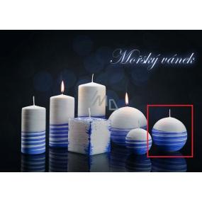 Lima Aromatická spirála Mořský vánek svíčka bílo - modrá koule průměr 80 mm 1 kus
