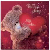 Me to You Blahopřání do obálky 3D Pro tebe z lásky, Medvídek se srdcem 15,5 x 15,5 cm