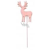 Jelen dřevěný růžový zápich 8 cm + drátek