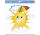 Okenní fólie ručně malovaná sluníčka,deštník 30 x 30 cm