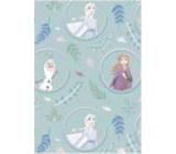 Ditipo Dárkový balicí papír 70 x 200 cm Vánoční Disney Anna, Elsa a Olaf v kolečkách světle zelený