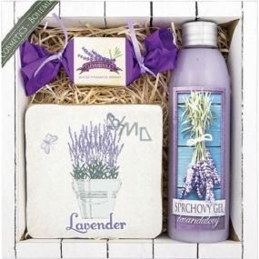 Bohemia Herps Lavender La Provence sprchový gel 200 ml + ručně vyráběné mýdlo 30 g + dekorační kachlík s potiskem 10 x 10 cm, kosmetická sada