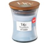 WoodWick Soft Chambray - Čisté prádlo vonná svíčka s dřevěným knotem a víčkem sklo malá 85 g