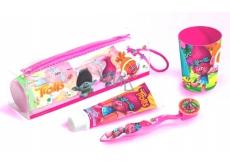Trollové měkký zubní kartáček s krytem + zubní pasta + pouzdro + kelímek + dentální nit, set dentální hygieny pro dívky