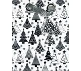BSB Luxusní Vánoční dárková papírová taška střední bílá, stříbrné stromečky 23 x 19 x 9 cm VDT 385-A5