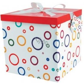 Dárková krabička skládací s mašlí 01 S kruhy XXL 30 x 30 x 17 cm