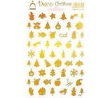 Arch Holografické vánoční samolepky obrázky různé motivy zlaté 830
