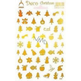 Arch Holografické dekorační samolepky vánoční různé motivy zlaté 830