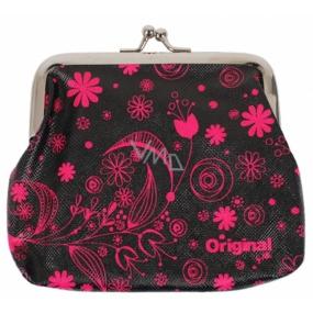 Albi Original Portmonka na klip Růžové květy 12 x 9,5 x 1,5 cm