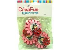 CreaFun Květina s beruškou 3 kusy