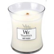 WoodWick Baby Powder - Dětský pudr vonná svíčka s dřevěným knotem a víčkem sklo střední 275 g