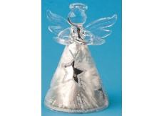 Anděl skleněný s hvězdou na postavení 8 cm