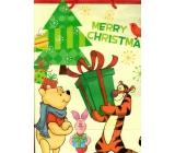 Ditipo Disney Dárková papírová taška pro děti L Medvídek Pú Tygřík s dárkem 26,4 x 12 x 32,4 cm