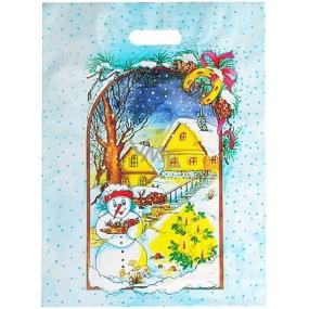 Igelitová taška 46,5 x 35,5 cm mikulášská sněhulák, domečky, stromeček