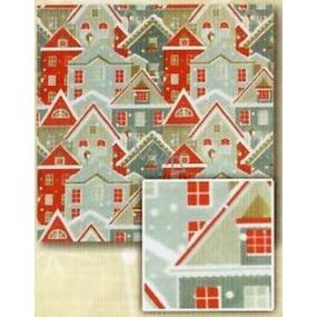 Nekupto Dárkový balicí papír 70 x 200 cm Vánoční Stříbrný, červený dům