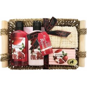 Raphael Rosalee Cosmetics Granátové jablko sprchový gel 150 ml + tělové mléko 150 ml + tuhé mýdlo 100 g + masážní ručník + košík, kosmetická sada
