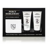 Percy Nobleman Čistící gel na obličej a vousy 75 ml + Hydratační krém na obličej a vousy 75ml + Bavlněný ručníček, kosmetická sada