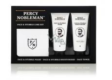 Percy Nobleman Čistící gel na obličej a vousy 75 ml + Hydratační krém na obličej a vousy 75ml + Bavlněný ručníček