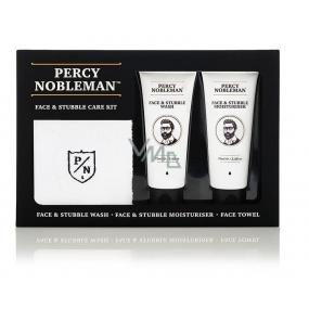Percy Nobleman Čisticí gel na obličej a vousy 75 ml + Hydratační krém na obličej a vousy 75ml + Bavlněný ručníček, kosmetická sada