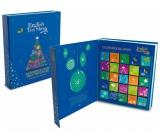English Tea Shop Bio Adventní kalendář ve tvaru knihy modrý, 25 kusů pyramidek sypaného čaje, 13 příchutí,50 g, dárková sada