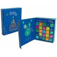 English Tea Shop Bio Adventní kalendář ve tvaru knihy modrý, 25 pyramidek sypaných čajů, 13 příchutí, dárková sada