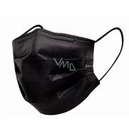 Rouška 3 vrstvá ochranná zdravotní netkaná jednorázová, nízký dýchací odpor 1 kus černá