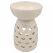 Aromalampa porcelánová bílá se srdíčky 14 cm