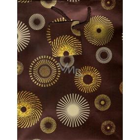 Nekupto Dárková papírová taška střední 23 x 18 x 10 cm hnědá zlatá a béžová kolečka 073 61 GM