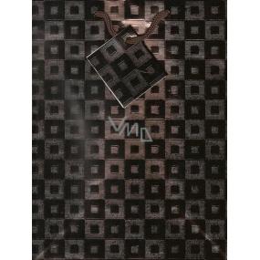 Nekupto Dárková papírová taška střední 23 x 18 x 10 cm metalická hnědá se čtverečky 001 62 GM