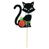Zápich kočky černé z filcu černá ouška 8 cm + špejle
