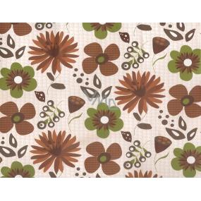 Nekupto Dárková kraftová taška střední 330 CM hnědé a zelené květy 23 x 18 x 10 cm