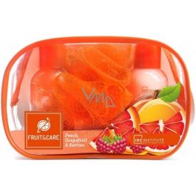 Idc Institute Fruit & Care Peach, Grapefruit & Berries Cestovní set sprchový gel 100 ml + tělové mléko 100 ml + mycí houbička + etue, kosmetická sada